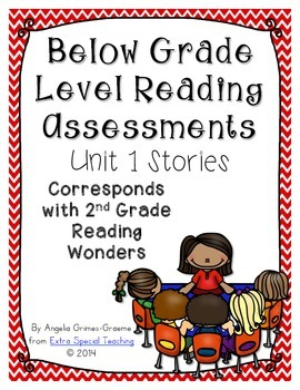Below Grade Level Assessments for Reading Wonders Grade 2 Unit 1 (freebie)