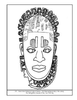 Belt Mask of Queen Idia.  Coloring page and lesson plan ideas