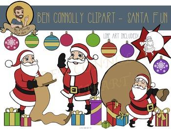 Christmas decorations and Santa Claus Clip Art