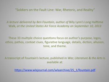 "Ben Fountain's ""Soldiers on the Fault Line: War, Rhetoric, and Reality""-Quiz"