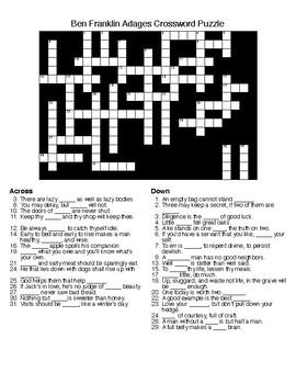 Ben Franklin Adages Crossword Puzzle & KEY