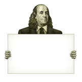 Ben Franklin Holding A Blank Sign
