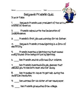 photograph relating to What Type of Learner Are You Printable Quiz named Ben Franklin Quiz