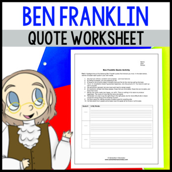 Ben Franklin Quote Worksheet -- Think Like a Founding Father!