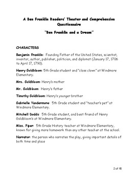 Ben Franklin Reader's Theater (Script, Vocabulary, and Questionnaire)