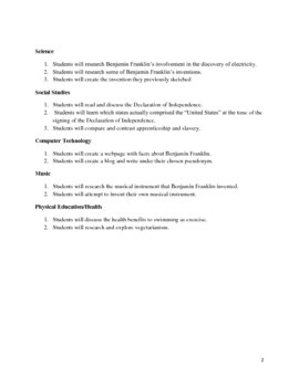 Ben Franklin Thematic Unit Plan Outline