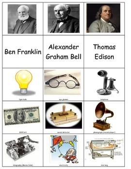 Ben Franklin Thomas Edison Alexander Graham Bell Sort inve
