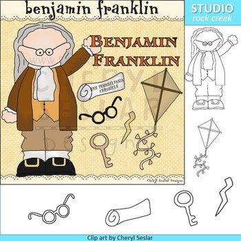 Ben Franklin color and line drawings clip art C. Seslar