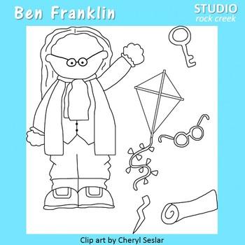 Ben Franklin line drawings clip art C. Seslar