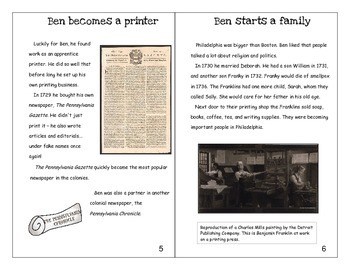Ben Franklin mini-book and activities