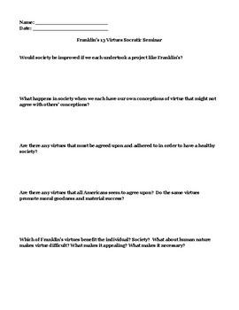 Ben Franklin's 13 Virtues Socratic Seminar