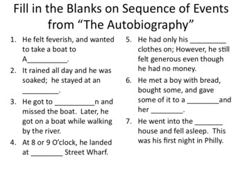 Ben Franklins Autobiography Guided Reading, Essay, Student Authored Sayings