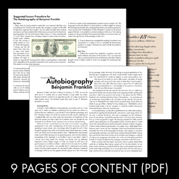 Ben Franklin's Autobiography, Informational Text with Modern Connections, CCSS