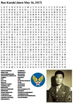 Ben Kuroki World War Two Word Search