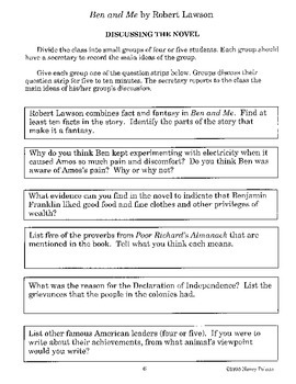 Ben and Me Literature Activity Guide