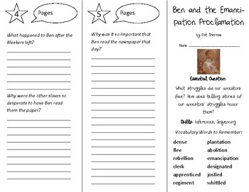 Ben & the Emancipation Proclamation Trifold - Open Court 4th Gr Unit 3 Lesson 2