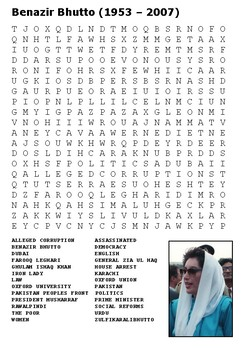 Benazir Bhutto Word Search