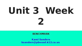 Benchmark 1st Grade Unit 3 Week 2 Slideshow
