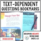 Benchmark ADELANTE Text-Dependent Question Bookmarks 2nd Grade Units 1-10 BUNDLE