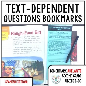 Benchmark ADELANTE Text-Dependent Question Bookmarks 2nd Grade Units 1-10 BUNDLE