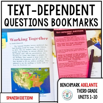 Benchmark ADELANTE Text-Dependent Question Bookmarks 3rd Grade Units 1-10 BUNDLE