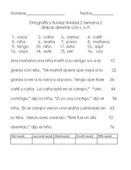 Benchmark Adelante Unit 2 Spelling and Fluency