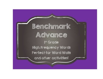 Benchmark Advance 1st (First) Grade High Frequency Words Cards-Chalkboard Style