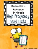 Benchmark Advance 1st Grade High Frequency Word Lists