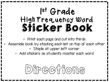 Benchmark Advance 1st Grade High Frequency Word Sticker Book