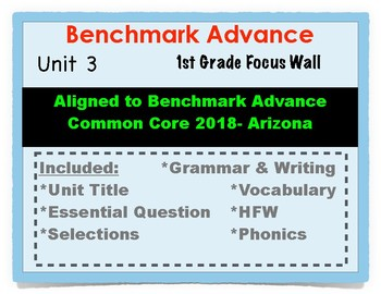 Benchmark Advance 1st Grade Unit 3 Focus Wall Arizona Common Core