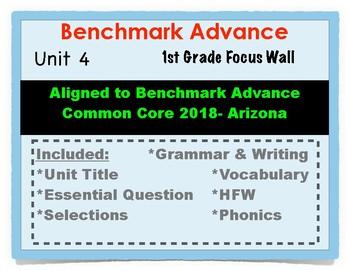 Benchmark Advance 1st Grade Unit 4 Focus Wall Arizona Common Core