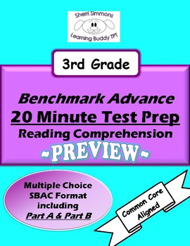 Benchmark Advance 20 Minute Test Prep Reading Comprehension PREVIEW