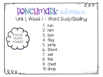 Benchmark Advance 2nd Grade BUNDLED Spelling Lists for Units 1-10