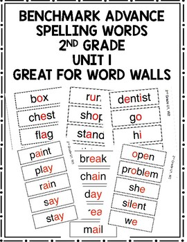 Benchmark Advance 2nd Grade Spelling Words Unit 1