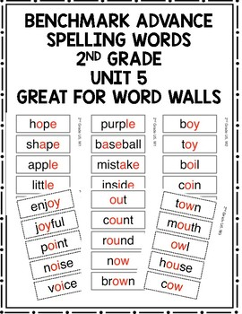 Benchmark Advance 2nd Grade Spelling Words Unit 5