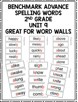 Benchmark Advance 2nd Grade Spelling Words Unit 9