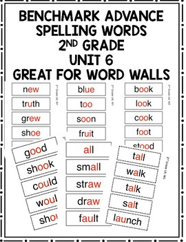 Benchmark Advance 2nd Grade Spelling Words Unit 6