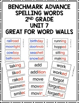 Benchmark Advance 2nd Grade Spelling Words Unit 7