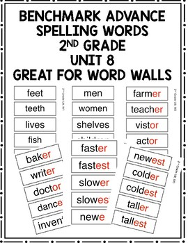 Benchmark Advance 2nd Grade Spelling Words Unit 8