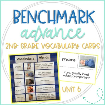 Benchmark Advance 2nd Grade Vocabulary Word, Picture, & Definition Cards Unit 6