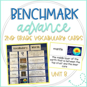 Benchmark Advance 2nd Grade Vocabulary Word, Picture, & Definition Cards Unit 8