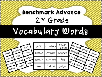 Benchmark Advance 2nd Grade Vocabulary Words Flash Cards