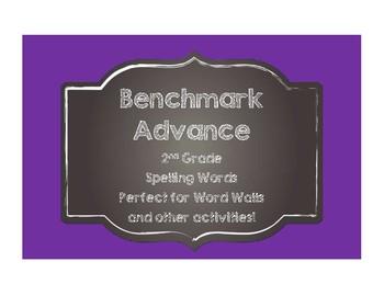 Benchmark Advance 2nd (SECOND) Grade Spelling Words-Chalkboard Style