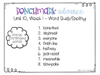 Benchmark Advance 3rd Grade Spelling Lists for Unit 10