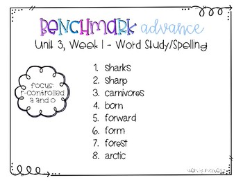 Benchmark Advance 3rd Grade Spelling Lists for Unit 3