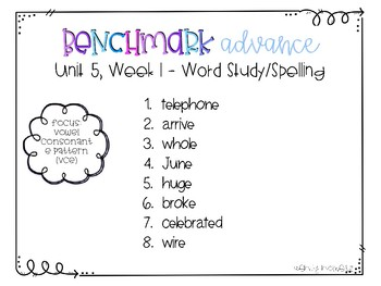 Benchmark Advance 3rd Grade Spelling Lists for Unit 5