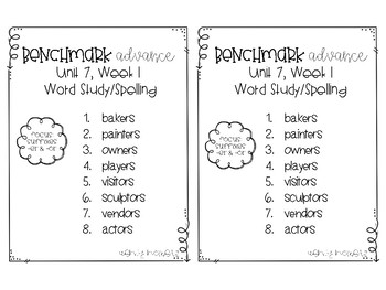 Benchmark Advance 3rd Grade Spelling Lists for Unit 7