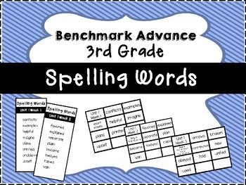 Benchmark Advance 3rd Grade Spelling Word Lists and Flash Cards