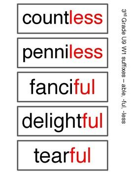Benchmark Advance 3rd Grade Spelling Words UNIT 9