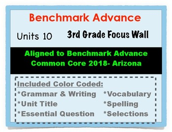 Benchmark Advance 3rd Grade Unit 10 Focus Wall Arizona Common Core